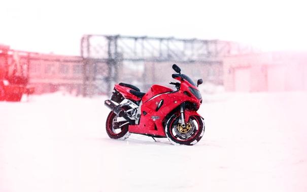 Фото обои зима, снег, завод, мотоцикл, Suzuki