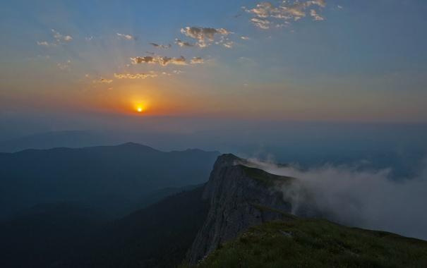 Фото обои закат, гора, Кавказ, Большой Тхач