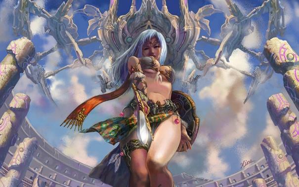 Фото обои взгляд, девушка, меч, щит, Арт, арена, летательный аппарат