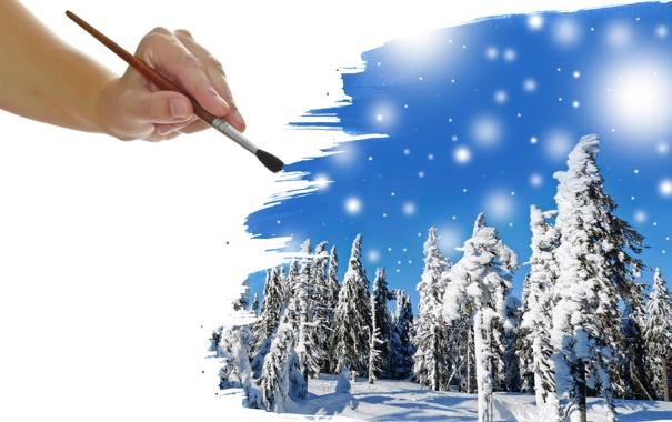 Фото обои зима, лес, снег, кисть, ёлки