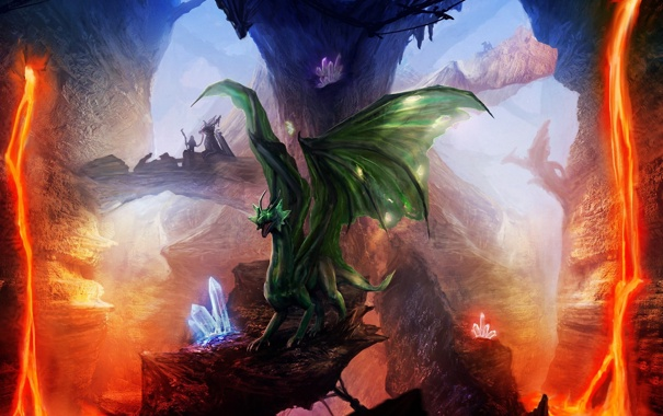 Фото обои скалы, драконы, арт, лава, кристаллы