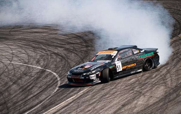Фото обои дым, дрифт, S15, Silvia, Nissan, трек