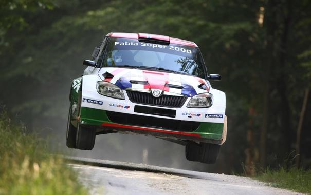 Фото обои Спорт, Капот, Фары, Rally, Ралли, Передок, Skoda