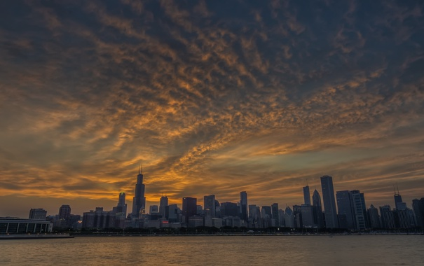 Фото обои city, город, вечер, USA, Chicago, Illinois, панорамма