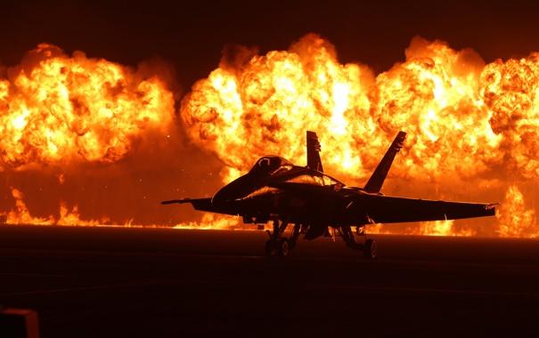 Фото обои огонь, истребитель, многоцелевой, Hornet, FA-18