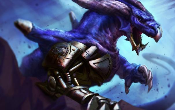 Фото обои дракон, голова, арт, рога
