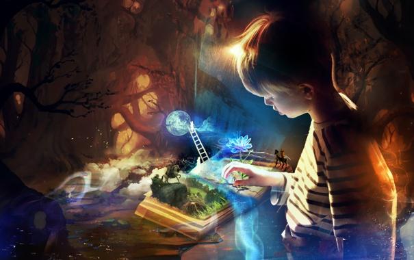 Фото обои цветок, фантазия, ребенок, мальчик, лестница, книга, всадник