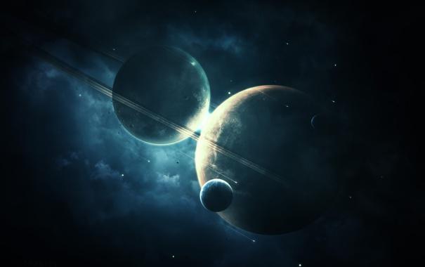 Фото обои звезды, планеты, кольца, астероиды, спутники