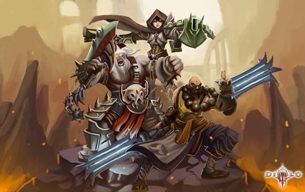 Фото обои арт, лава, герои, трио, охотник, diablo 3, варвар