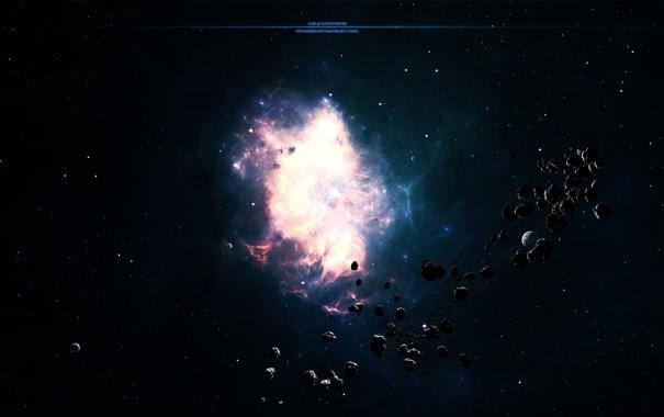 Фото обои обломки, звезды, планеты, свечение, астероиды