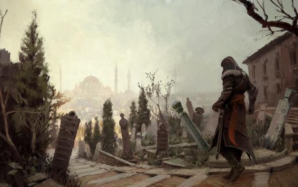Фото обои город, кладбище, ассасин, эцио, константинополь, Assassin's Creed: Revelations