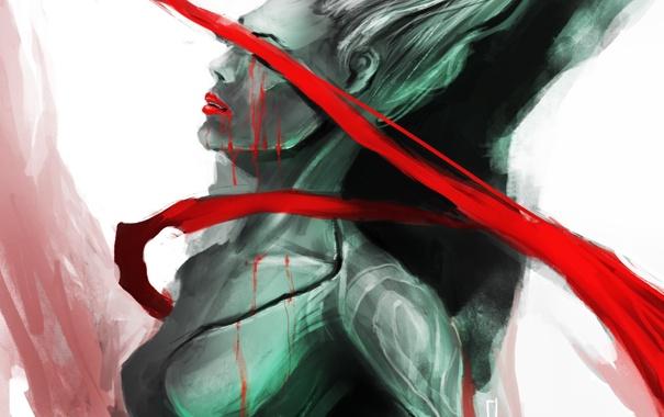Фото обои капли, красная, арт, девушка, лента, кровь