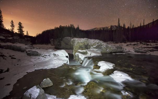 Фото обои зима, река, ночь