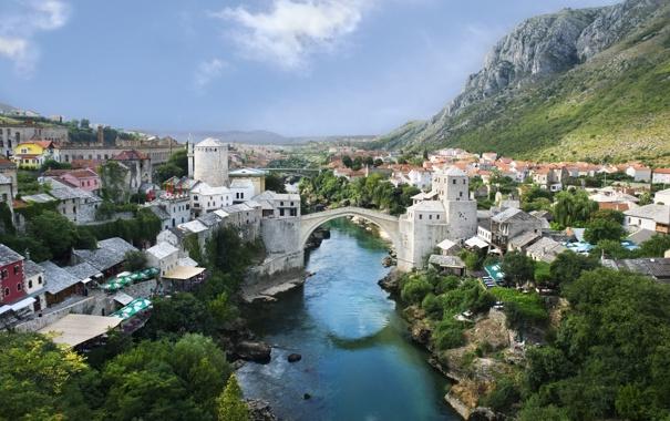 Фото обои мост, река, Mostar, Мостар