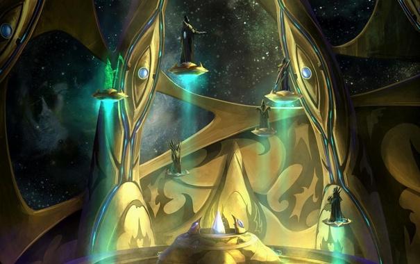 Фото обои космос, звезды, корабль, существа, совет