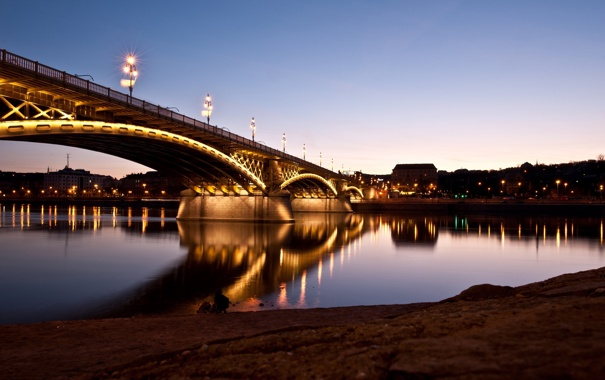 Фото обои свет, город, огни, отражение, река, берег, дома