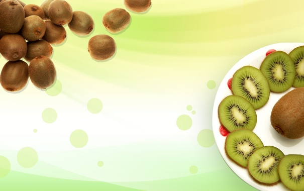 Фото обои фон, обои, еда, киви, тарелка, фрукты, зелёненький