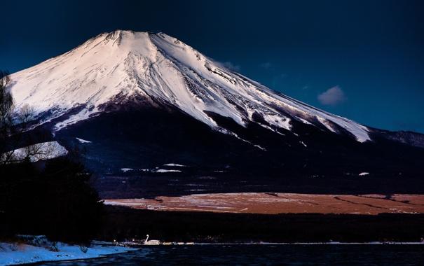 Фото обои озеро, гора, вулкан, Япония, Фуджи