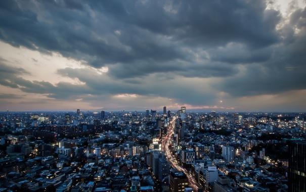 Фото обои ночь, город, Tokyo
