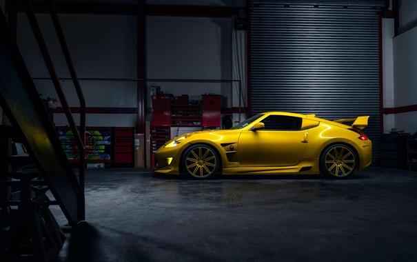 Фото обои Nissan, Car, Yellow, Side, Sport, View, 370Z