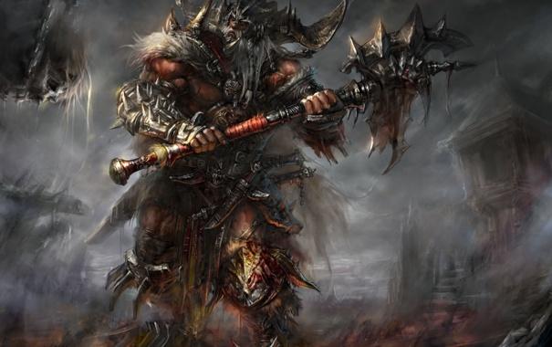 Фото обои кровь, доспехи, шипы, рога, топор, нежить, Diablo