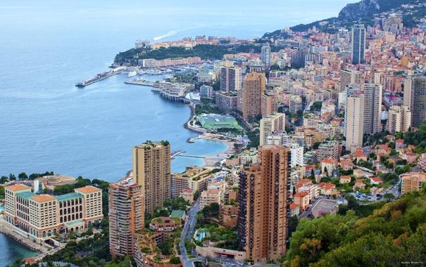 Фото обои море, города, берег, побережье, дома, франция, монако