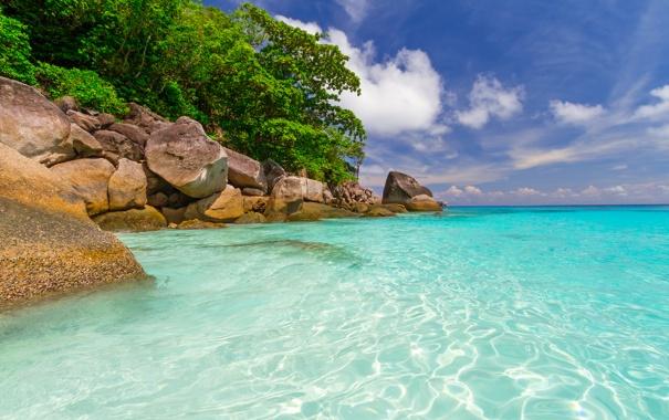 Фото обои камни, тропики, Phuket, небо, облака, лагуна, море