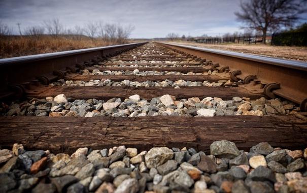 Фото обои перспектива, железная дорога, шпалы