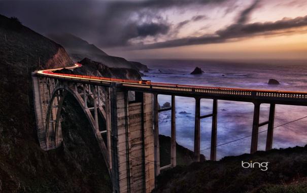Фото обои мост, скалы, небо, море