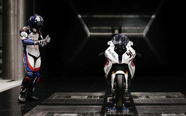 Фото обои защита, шлем, пилот, комбинезон, спортбайк, костём