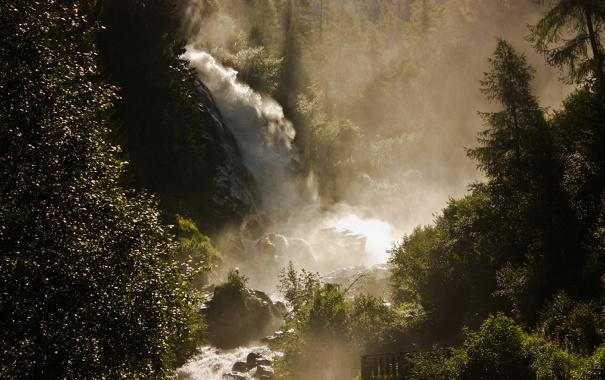 Фото обои вода, горы, природа, река, фото, реки, кусты