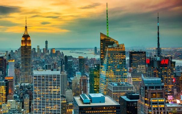 Фото обои закат, город, Нью-Йорк, США