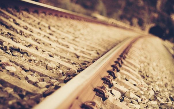 Фото обои макро, рельсы, железная дорога