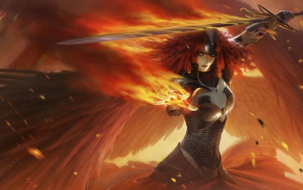 Фото обои девушка, огонь, меч, арт, рыжая