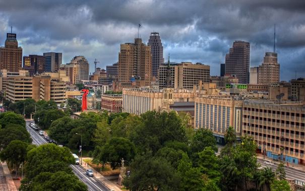 Фото обои Clouds, Downtown, usa, Texas, Техас, San Antonio, Сан-Антонио
