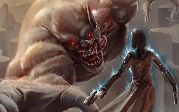 Фото обои энергия, девушка, оружие, магия, пистолеты, монстр, арт