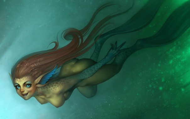 Фото обои взгляд, пузыри, русалка, Девушка, чешуя, под водой