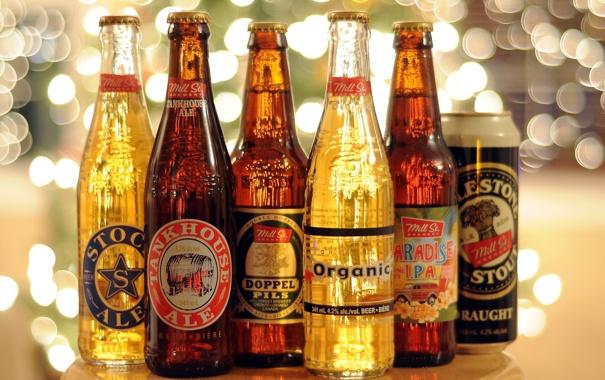 Фото обои фон, пиво, бутылки