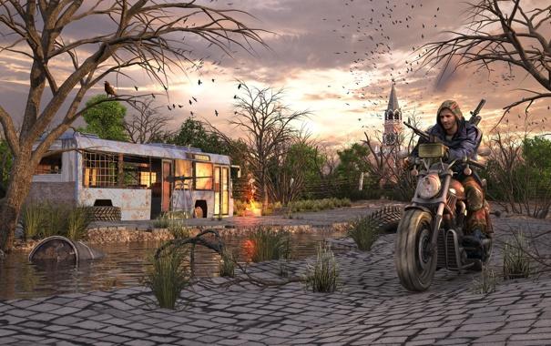 Фото обои город, апокалипсис, москва, мотоцикл, автобус, сталкер, survarium