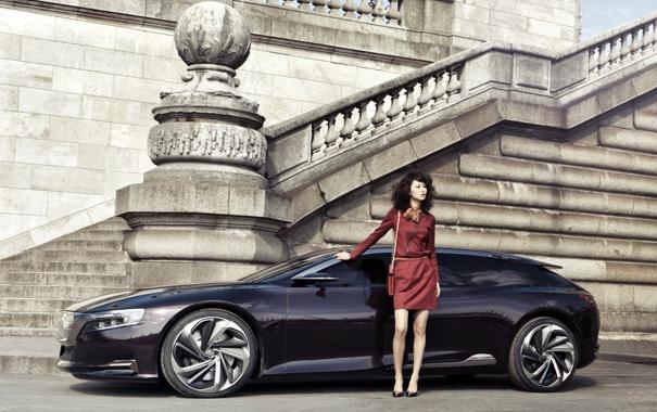 Фото обои Concept, девушка, Citroën, лестница, концепт, вид сбоку, ситроен