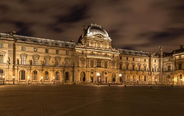Фото обои ночь, город, здание, освещение, архитектура