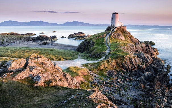 Фото обои Llandwyn Island, sea, Lighthouse