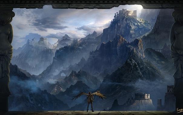 Фото обои облака, пейзаж, горы, скалы, человек, высота, крылья