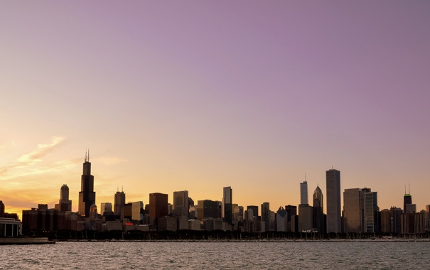 Фото обои город, яхты, United States, Illinois, панорамма, Chicago Skyline