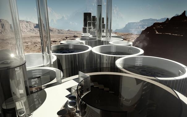 Фото обои вода, скалы, сооружение, арт, колбы, цилиндры