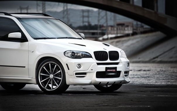 Фото обои белый, бмв, BMW, white, передняя часть, кроссовер