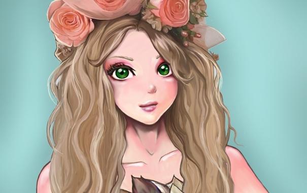 Фото обои взгляд, девушка, цветы, лицо, фон, волосы, розы