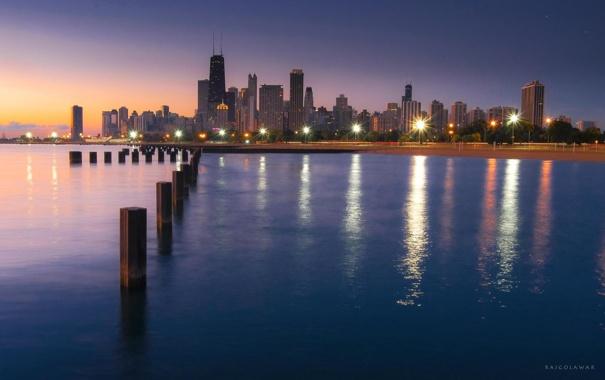 Фото обои небоскребы, Чикаго, USA, Chicago, мегаполис, illinois, мичиган