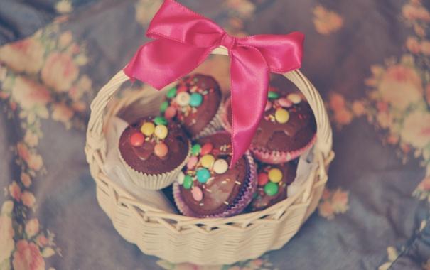 Фото обои бант, корзинка, бантик, выпечка, кексы