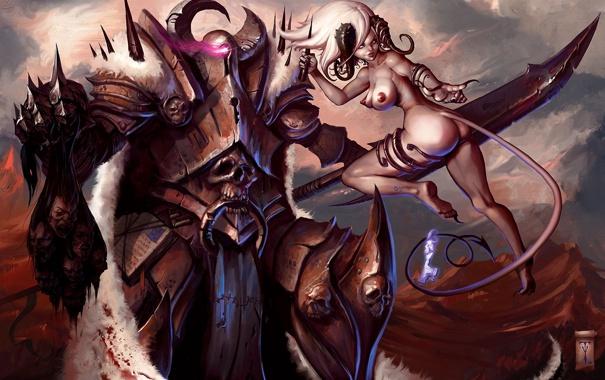 Фото обои кровь, меч, доспехи, демон, воин, Арт, раб